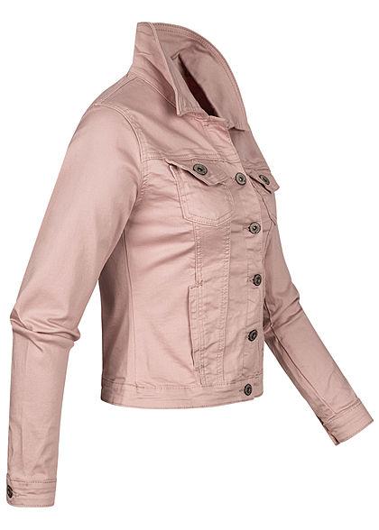 Hailys Damen Jeans Jacke 4-Pockets Knopfleiste rosa denim
