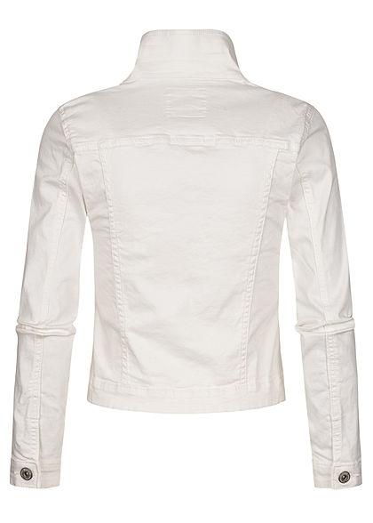 Hailys Damen Jeans Jacke 4-Pockets Knopfleiste weiss denim