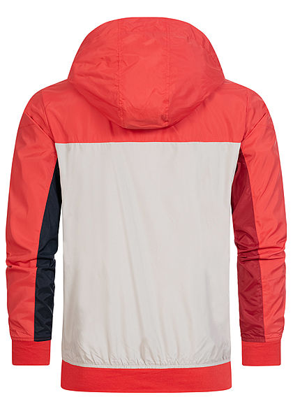 Jack and Jones Herren leichte Zip Jacke 2-Pockets Kapuze bittersweet rot grau