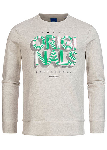 Jack and Jones Herren Sweater Logo Front Stickerei weiss melange