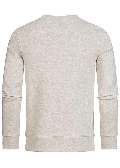 Jack and Jones Herren Sweater Logo Front Stickerei weiss melange