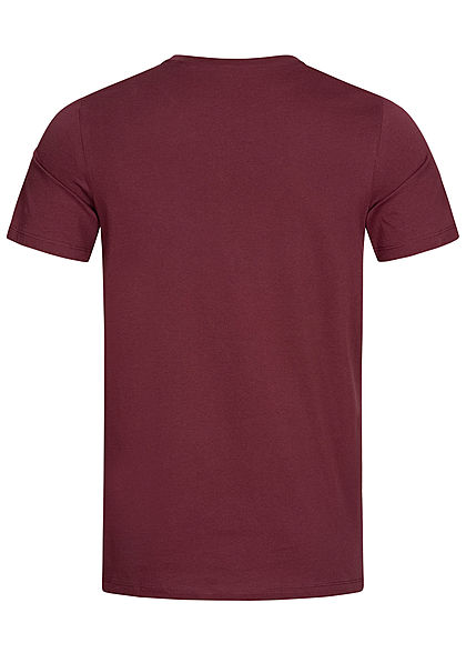 Jack and Jones Herren NOOS O-Neck T-Shirt Logo Print port royale bordeaux rot