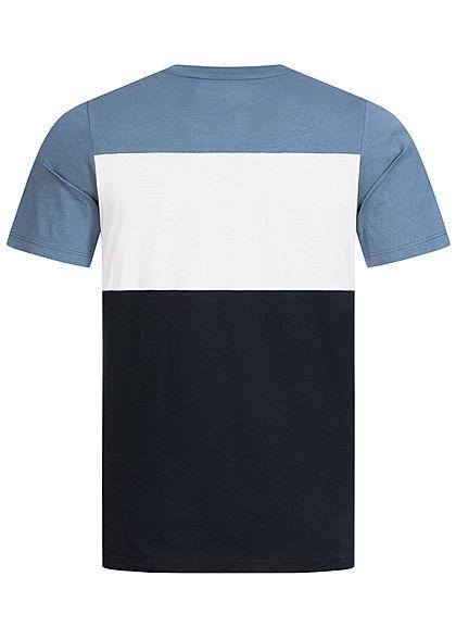 Jack and Jones Herren NOOS Colorblock T-Shirt Logo Print china blau