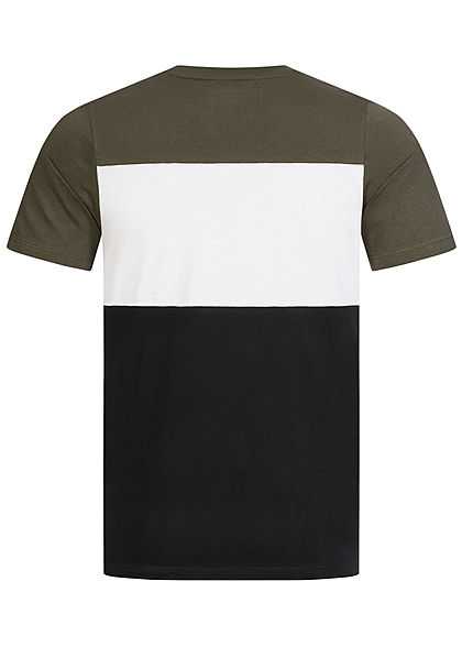 Jack and Jones Herren NOOS Colorblock T-Shirt Logo Print forest night grün