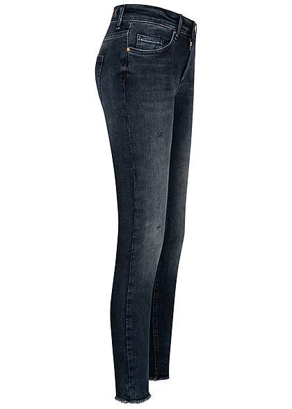 ONLY Damen Ankle Skinny Jeans Hose 5-Pockets Crash Look dunkel blau denim