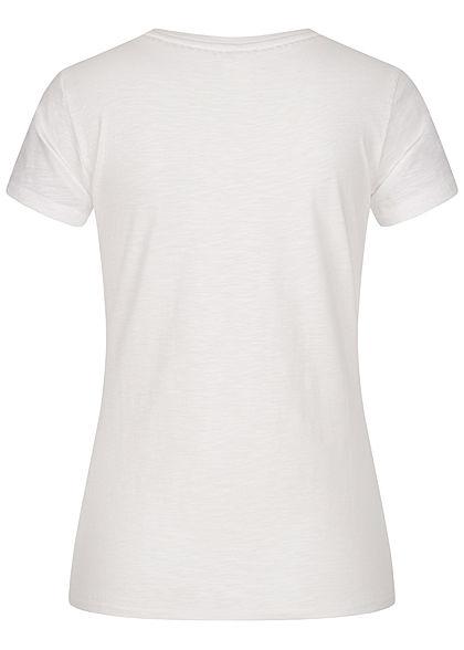 ONLY Damen T-Shirt All Good Print Glitzer bright weiss