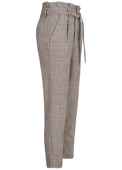 ONLY Damen Ankle Poptrash Paperbag Stoffhose 2-Pockets Karo Muster marmalade braun