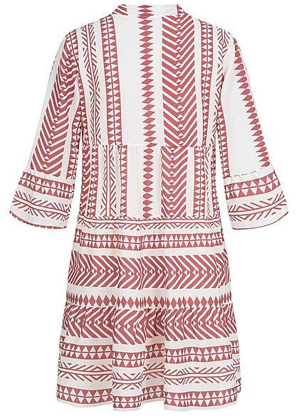 Hailys Damen 3/4-Arm V-Neck Tunika Kleid Azteken Print Volantärmel rosewood weiss