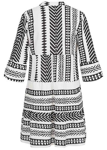 Hailys Damen 3/4-Arm V-Neck Tunika Kleid Azteken Print Volantärmel schwarz weiss