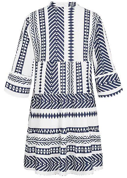 Hailys Damen 3/4-Arm V-Neck Tunika Kleid Azteken Print Volantärmel navy blau weiss