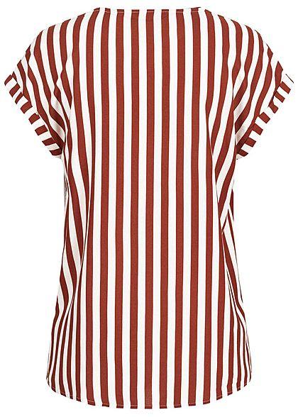 Tom Tailor Damen V-Neck Blusen Shirt Vokuhila Streifen Muster rot weiss