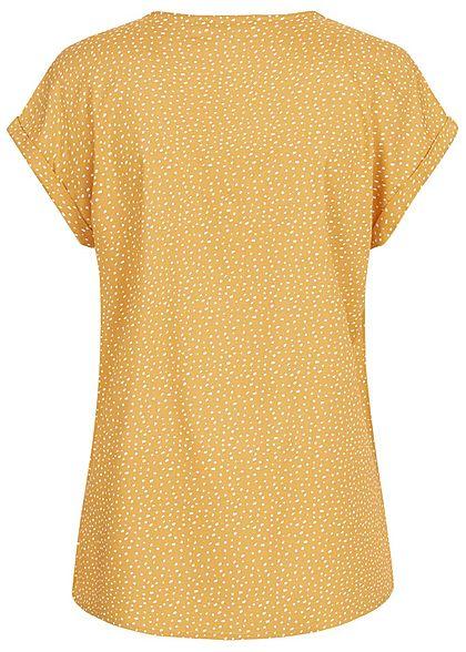 Tom Tailor Damen V-Neck Blusen Shirt Vokuhila Punkte Muster senf gelb weiss