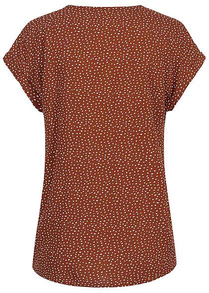 Tom Tailor Damen V-Neck Blusen Shirt Vokuhila Punkte Muster rost braun rot weiss