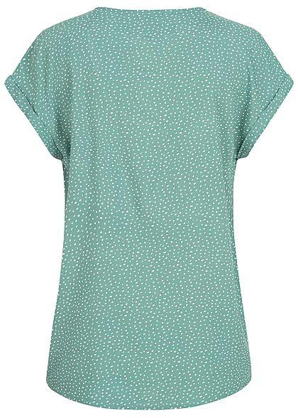 Tom Tailor Damen V-Neck Blusen Shirt Vokuhila Punkte Muster mineral grün weiss