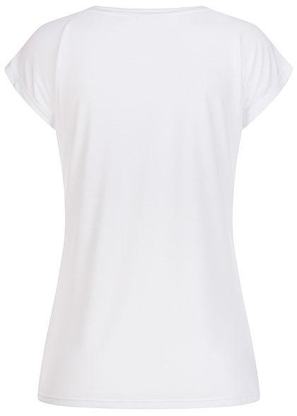 Hailys Damen T-Shirt Life Federn Print mit Paillettendetails off weiss mc