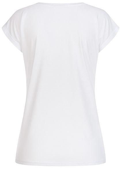 Hailys Damen T-Shirt California Dream Pailletten Summer Print weiss mc