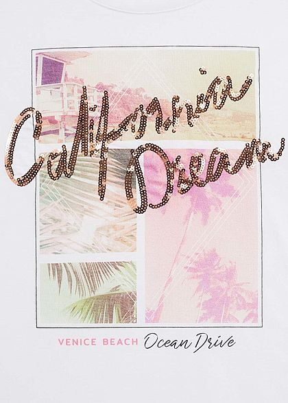Hailys Damen T-Shirt California Dream Pailletten Summer Print weiss mc
