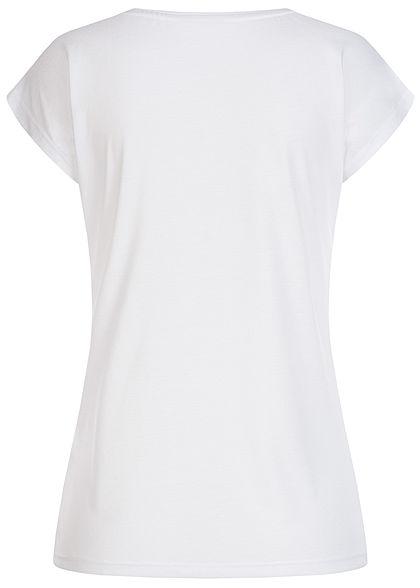 Hailys Damen T-Shirt Tropical Paradise Print mit Pailletten weiss grün