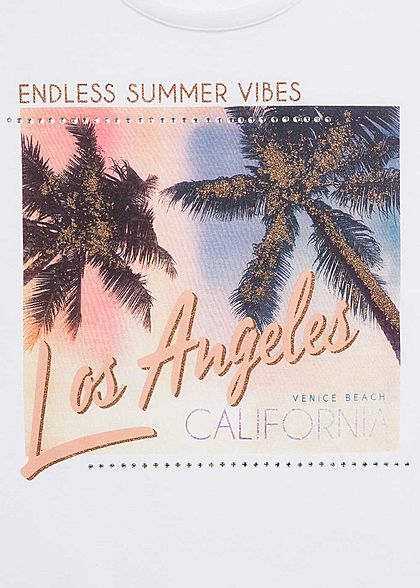 Hailys Damen T-Shirt Endless Summer Vibes LA Print Strasssteine weiss mc