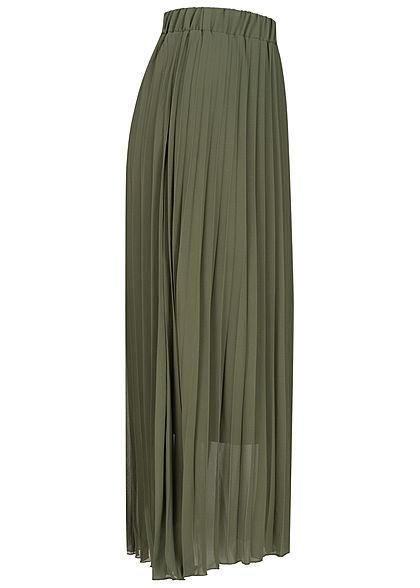 Sublevel Damen Midi Plissee Rock 2-lagig Gummibund dunkel oliv grün