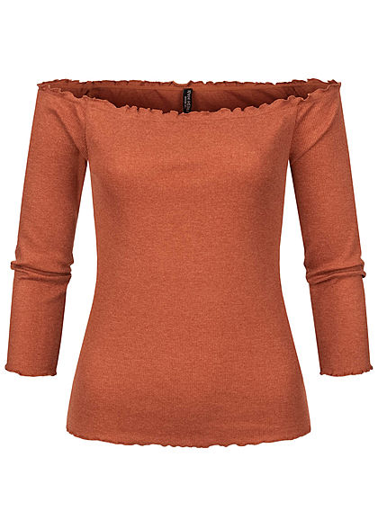 Fresh Made Damen 3/4 Arm Fine Rib Off-Shoulder Longsleeve mit Frilldetails rusty orange