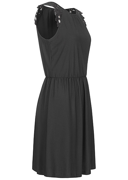 ONLY Damen Kleid Taillenzug Blumen Stickerei schwarz