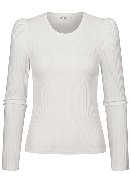 ONLY Damen Ribbed Longsleeve Puffer Ärmel cloud dancer weiß