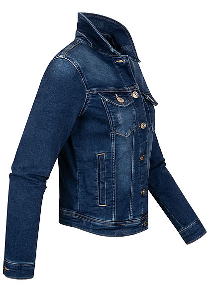 ONLY Damen Jeans Jacke 4-Pockets Knopfleiste leichter Crash Look dunkel blau denim