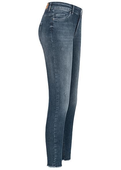 ONLY Damen Ankle Jeans Hose 5-Pockets Fransen Crash Look special blau grau denim