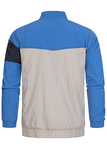 Hailys Herren Colorblock Arrow Trainingsjacke 2-Pockets royal blau navy grau