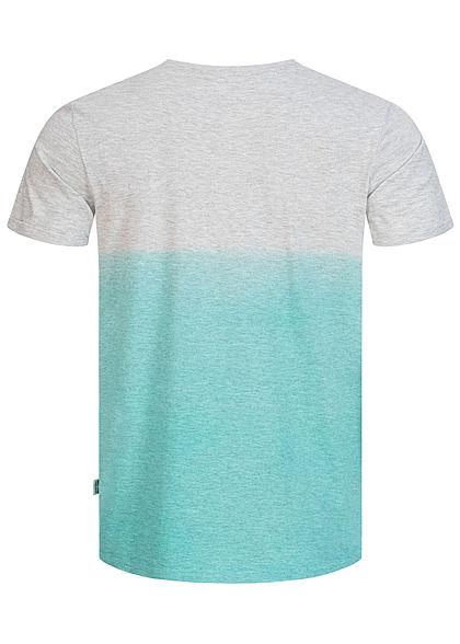 Hailys Herren 2-Tone T-Shirt Blue Wave Sommer Print türkis hell grau