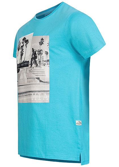 Hailys Herren T-Shirt Skateboard Print aqua blau