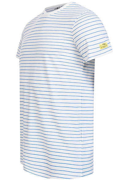 Hailys Herren T-Shirt Streifen Muster royal blau weiss