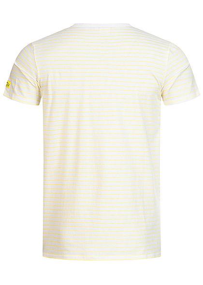 Hailys Herren T-Shirt Streifen Muster gelb weiss