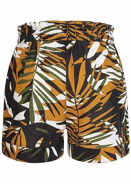 ONLY Damen Paperbag Leinen Shorts Tropical Print chai tea gelb schwarz