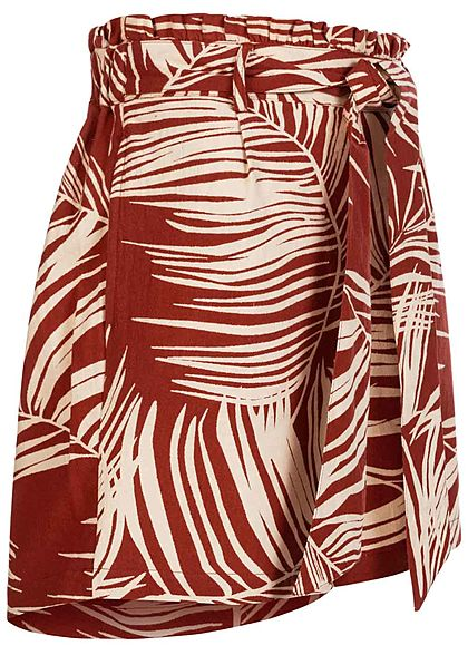 ONLY Damen Paperbag Shorts 2-Pockets Tropical Print burnt henna braun