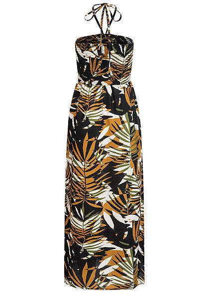ONLY Damen Smocked Neckholder Maxi Kleid Tropical Print chai tea gelb schwarz