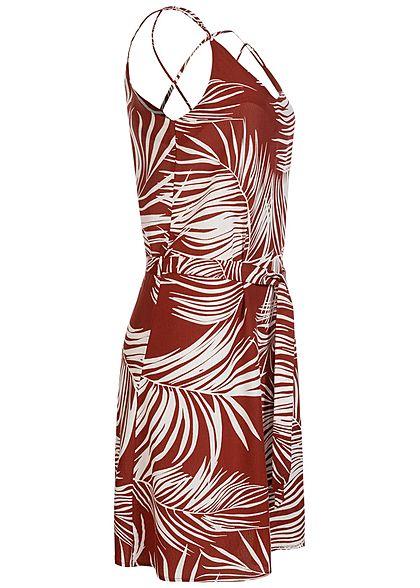 ONLY Damen V-Neck Mini Kleid inkl. Bindegürtel Tropical Print burnt henna braun