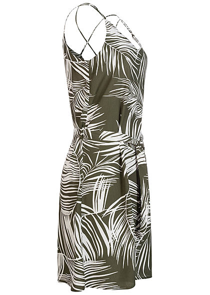 ONLY Damen V-Neck Mini Kleid inkl. Bindegürtel Tropical Print kalamata oliv grün