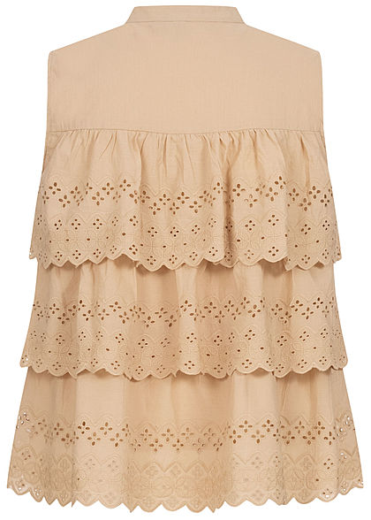 Vero Moda Damen Stufen Bluse mit Stickerei Knopfleiste nomad beige