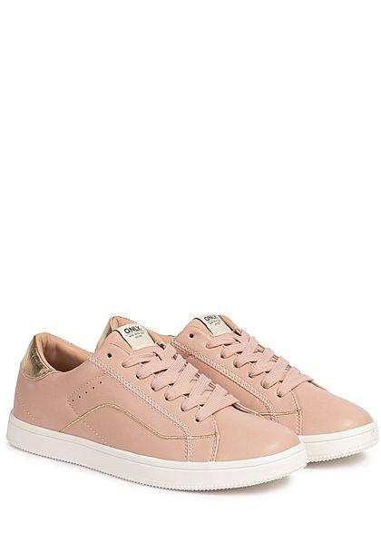 ONLY Damen Schuh Kunstleder Sneaker 2-Tone Nahtdetails rosa pink gold
