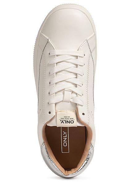 ONLY Damen Schuh Kunstleder Sneaker 2-Tone Nahtdetails weiss silber