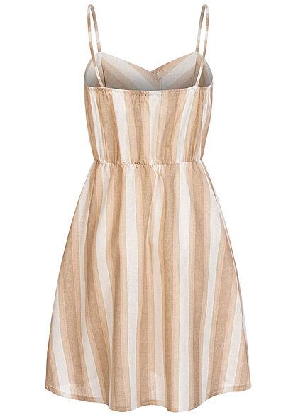 Hailys Damen V-Neck Mini Kleid Deko Knopfleiste Streifen Muster beige rosa weiss