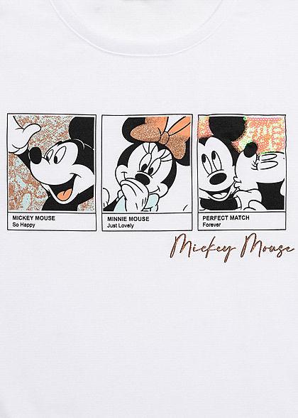 Hailys Damen T-Shirt Mickey und Minnie Mouse Print Glitzer Details weiss