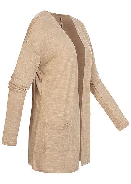 Hailys Damen Basic Cardigan 2-Pockets offener Schnitt beige