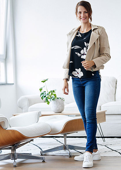 Hailys Damen Kunstleder Jacke Velour-Optik 2-Pockets assymtr Zipper beige