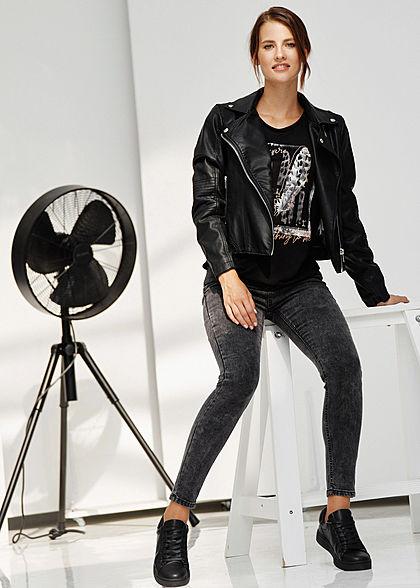 Hailys Damen T-Shirt Glitzer Federn Print schwarz