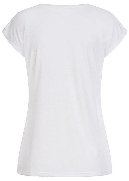 Hailys Damen T-Shirt Glitzer Federn Print weiss beige