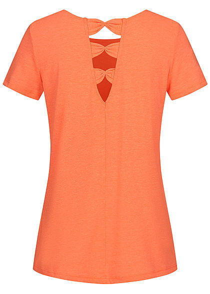 Tom Tailor Damen T-Shirt mit Schleifenausschnitte hinten dark papaya neon orange
