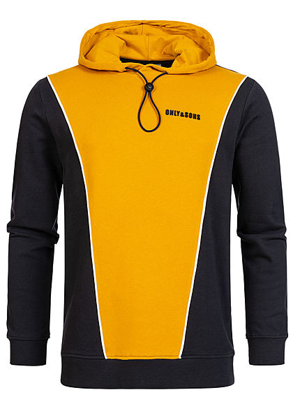 ONLY & SONS Herren 2-Tone Hoodie Pullover Kapuze Regular Fit golden gelb schwarz - Art.-Nr.: 20073683